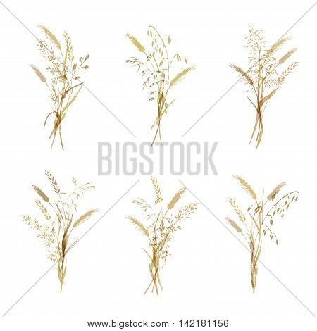 Meadow grass bouquets in monochrome brown color. Set of nature decorative elements.