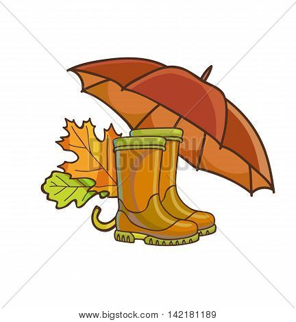 Autumn or fall concept with rain rubber boots, umbrella and yellow leaves. Vector Illustration. Isolated on white.