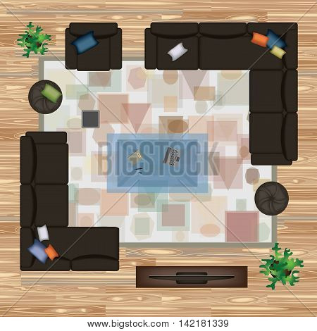 Sofa, Armchair, Pillows, Carpet, Coffee Table, Pouf, Plants Vector Illustration.Furniture Set for Interior Design.Scene Creator. Interior Top View.Architectural Floor Plan. Dark Sofas on Wood Parquet