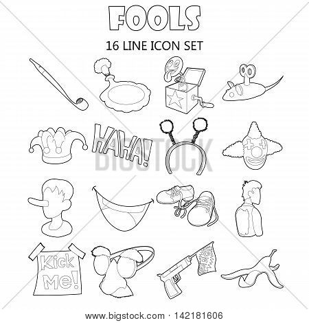 Outline fools icons set. Universal fools icons to use for web and mobile UI, set of basic fools elements isolated vector illustration