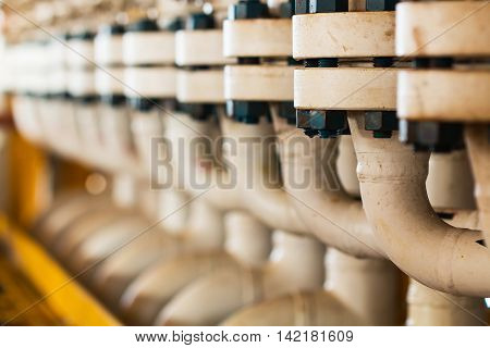 Close up pipe line manifold in Offshore
