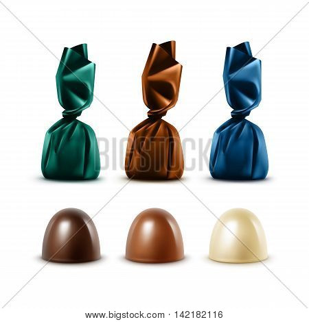 Vector Set of Realistic Dark Black Bitter White Milk Chocolate Candies in Colored Dark Green Blue Brown Glossy Foil Wrapper Isolated on White Background