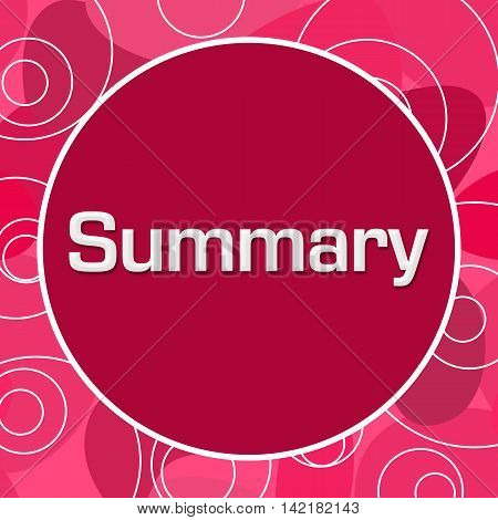 Summary text written over pink random circular background.