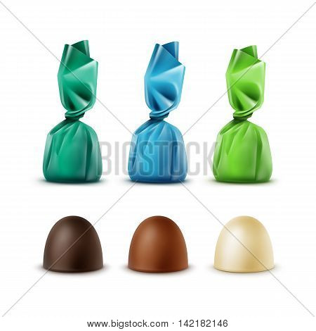 Vector Set of Realistic Dark Black Bitter White Milk Chocolate Candies in Colored Green Blue Glossy Foil Wrapper Isolated on White Background