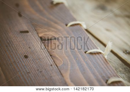 Background of wooden plank with binding menu.