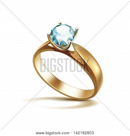 Vector Gold Engagement Ring with Light Turquoise Shiny Clear Diamond Close up Isolated on White Background