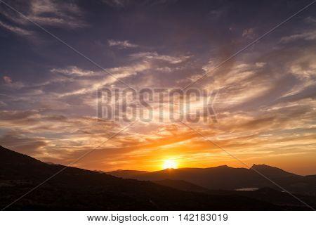 Dramatic Sunset Sky Over Sant' Antonino In Corsica