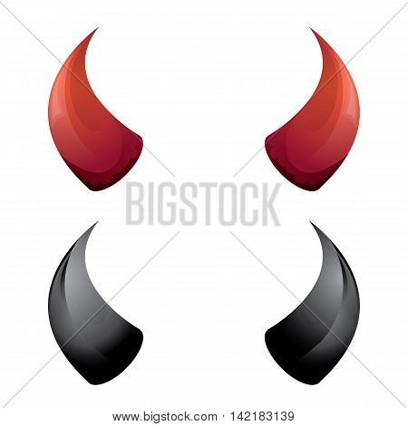 vector Red and black devil, demon, satan horns isolated on white. Halloween evil horns
