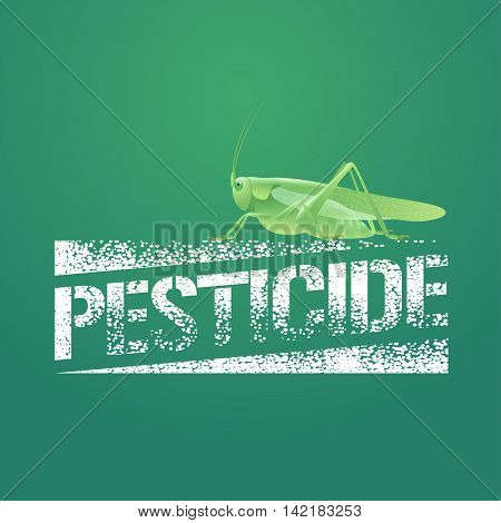 Pesticide vector logo icon symbol emblem. Design element with realistic locust for pest insects control chemicals