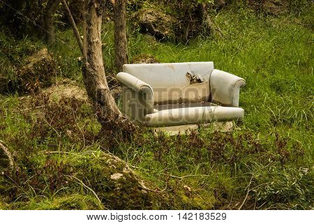 Old sofa in a forest an example of fly tipping or illegal dumping