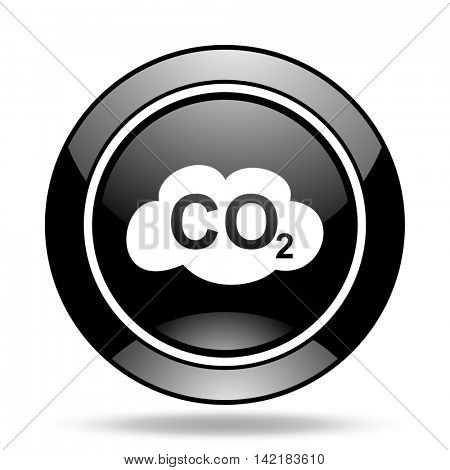 carbon dioxide black glossy icon
