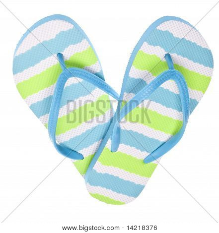 Blue And Green Flip Flop Sandals In Heart Shape