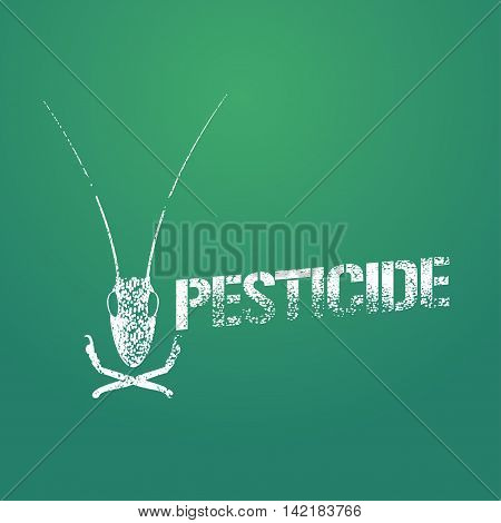 Pesticide vector logo icon symbol emblem. Design element with graphic locust for pest insects control chemicals exterminator work