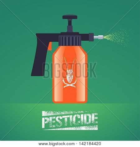 Pest insects control spray equipment vector illustration for farming gardening agriculture. Design element with pesticide sign as stamp. Logo with insect on spray bottle