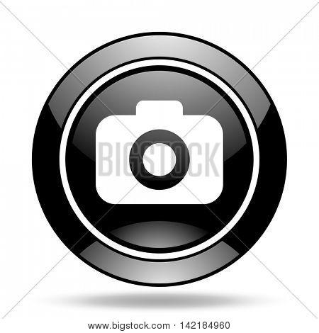 photo camera black glossy icon