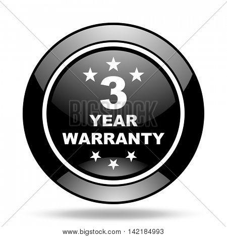 warranty guarantee 3 year black glossy icon