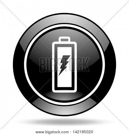 battery black glossy icon