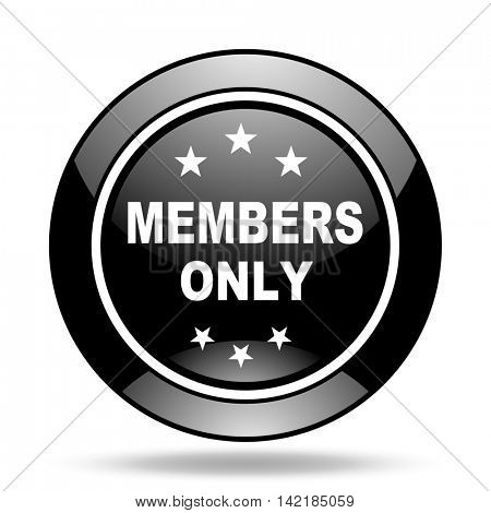members only black glossy icon
