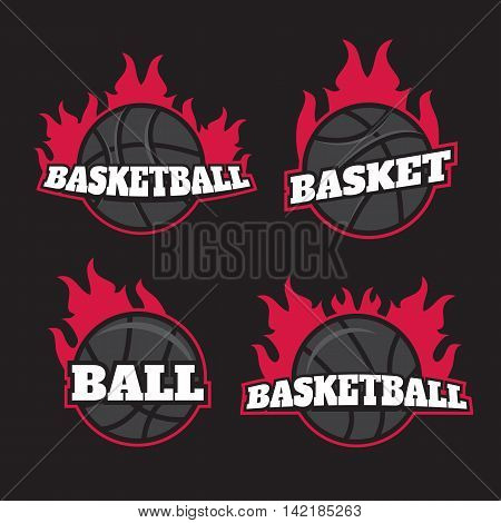 Basketball championship vector logo set. Basketball emblems badge design
