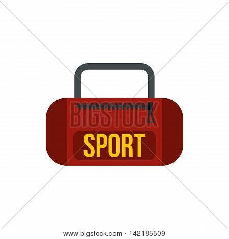 Red sports bag icon in flat style on a white background