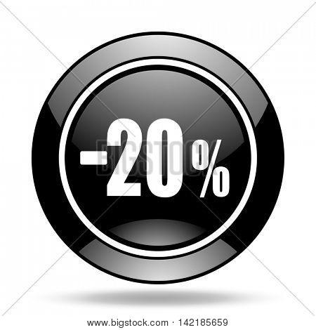 20 percent sale retail black glossy icon