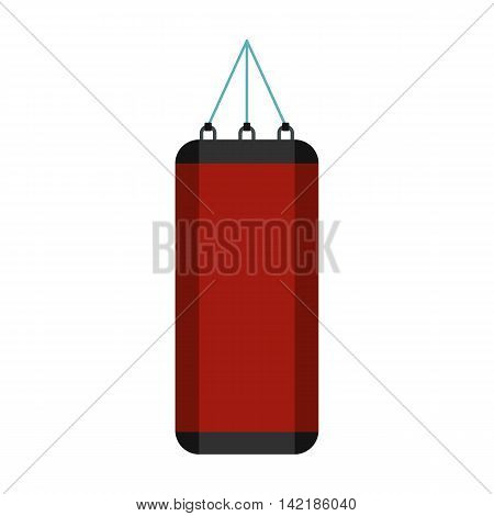 Red punching bag for boxing icon in flat style on a white background