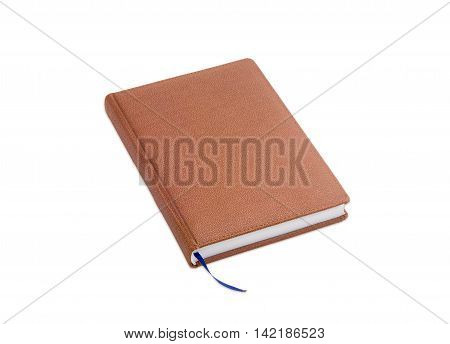 Brown business diary in hard stitched cover made by leatherette with blue marker ribbon on a light background