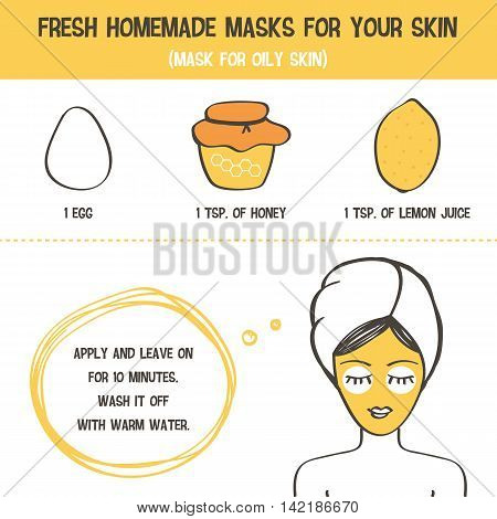 Doodle, hand drawn fresh homemade face mask for skincare recipe. Beauty advice for girls and women.