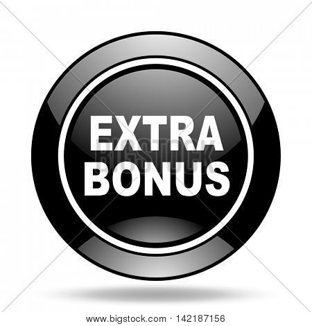 extra bonus black glossy icon