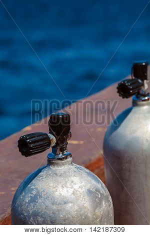 Compressed Air Tanks On Scuba Diving Boat