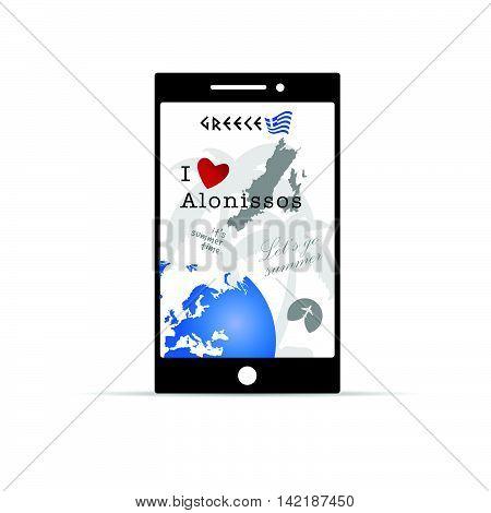 Greek Island Alonissos On Mobile Phone Illustration In Colorful