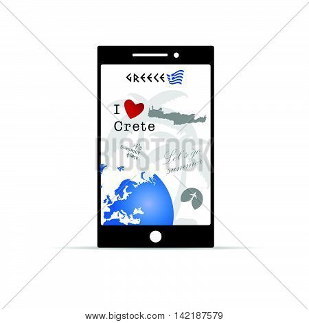 Greek Island Crete On Mobile Phone Illustration In Colorful