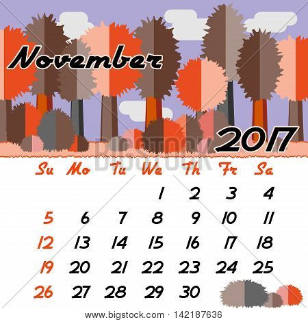 Calendar design grid with seasonal forest in flat style and dates of autumn month November 2017. Vector illustration