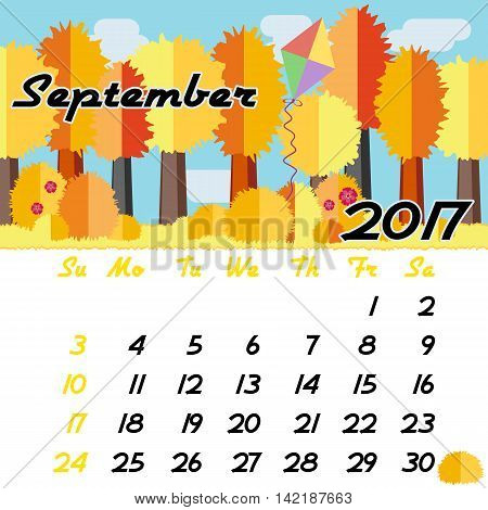 Calendar design grid with seasonal forest in flat style and dates of autumn month September 2017. Vector illustration