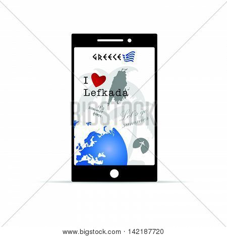 Greek Island Lefkada On Mobile Phone Illustration In Colorful