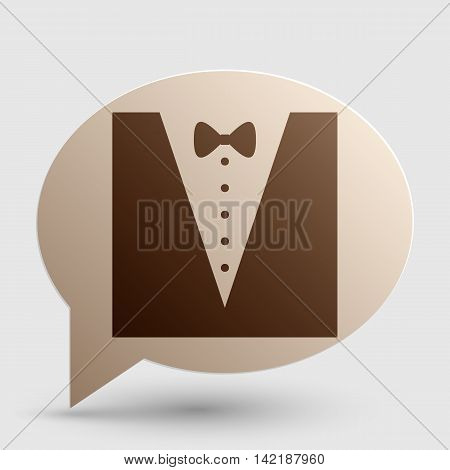 Tuxedo with bow silhouette. Brown gradient icon on bubble with shadow.