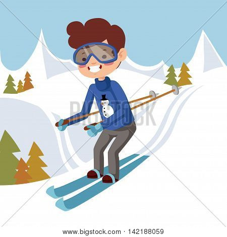 Man goes on skis. Vector illustration. Man skiing off the mountain.
