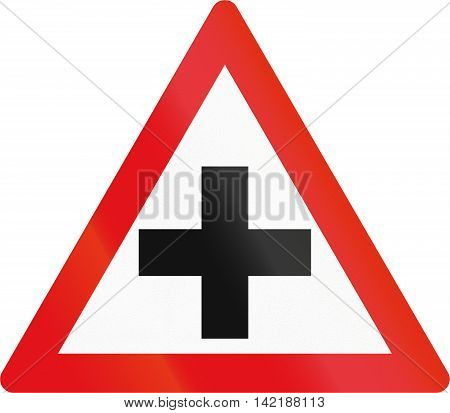 Road Sign Used In The African Country Of Botswana - Crossroad