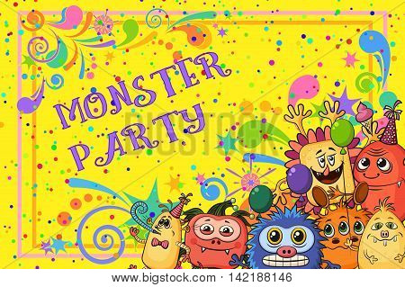 Background for Your Holiday Party Design with Different Cartoon Monsters, Colorful Illustration with Cute Funny Characters. Vector