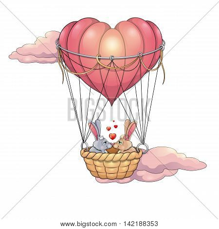 Two rabbits in love on a heart-shaped balloon