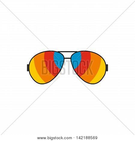 Glasses with rainbow lenses icon in flat style on a white background