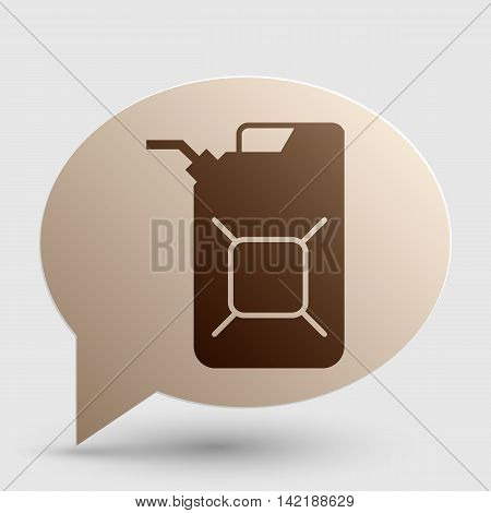 Jerrycan oil sign. Jerry can oil sign. Brown gradient icon on bubble with shadow.