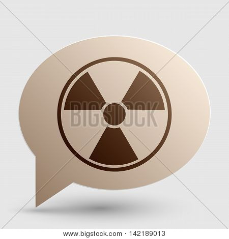 Radiation Round sign. Brown gradient icon on bubble with shadow.