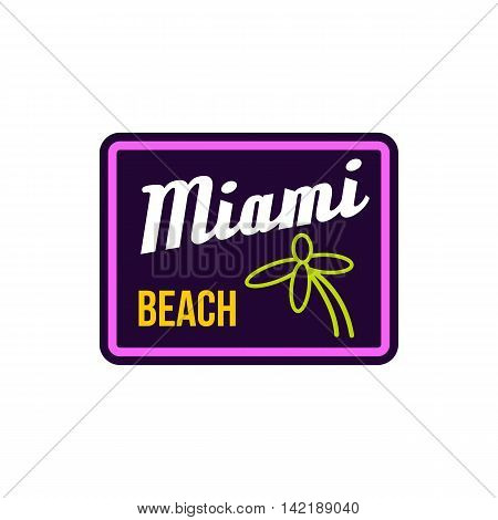 Miami beach label icon in flat style on a white background