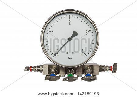 Pressure differential gaugePressure differential gauge isolated on white background.