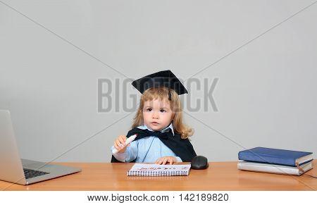 Cute Boy In Black Gown
