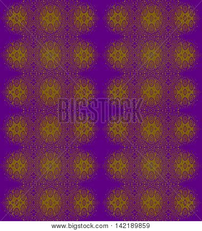Abstract geometric seamless vintage background. Ornate regular ellipses and circles pattern olive green on purple.