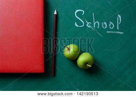 School Stationary On Blackboard