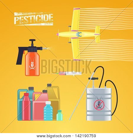 Set of icons illustration for agriculture and farming - crop duster airplane spray sprinkler bottle of pesticide injection. Graphic logo with pesticide sign