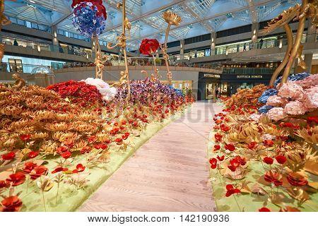 HONG KONG - CIRCA JANUARY, 2016: inside of The Landmark. The Landmark is an office and shopping development owned by Hongkong Land in Central, Hong Kong.